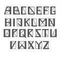 Geomertic alphabet, vector. Letters with thick and thin lines and sharp corners