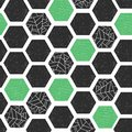 Geometric abstract background hexagons with grunge texture. Seamless vector pattern. Black green white modern abstract