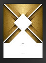 Geometric abstract design elements decorated banner with gold texture background. Royalty Free Stock Photo