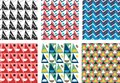 Geometric abstract seamless pattern set. Simple triangles motif Royalty Free Stock Photo