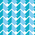 Geometric abstract seamless pattern with two  shades of blue elements symmetrical elements on white  background in mosaic tile sty Royalty Free Stock Photo