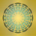 Geometric abstract shape on gold gradient mandala. Vintage design element. Concentric star shapes on dark background. Mandala for