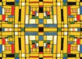 Geometric background in Mondrian grid style. Pop art pattern. Seamless ornament with abstract squares.