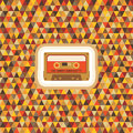Geometric background pattern vintage hipster seamless vector in style audio cassette Stock Image