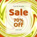 Geometric banner Sale 70% off discount on a vintage geometric background retro theme Autumn colors Design template card