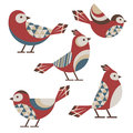 Geometric birds set of five cute with simple ornament Royalty Free Stock Photos