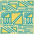 Geometric blue vector seamless pattern on yellow isolated background. Colorful abstract with straight lines, dots, triangles. Royalty Free Stock Photo