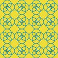 Blue yellow geometric circles repeat pattern design