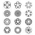 Geometric circular ornament Spirograph flower Draw Black Tattoo Vector Royalty Free Stock Photo