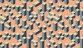 Geometric colorful 3D effect optical square city pattern.