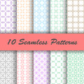 10 Geometric colorful vector seamless patterns Royalty Free Stock Photo