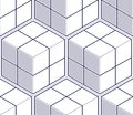 Geometric silver 3D cubes seamless pattern with glitter texture of abstract line mesh on white background. Vector silver glitterin