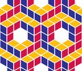 Geometric cubes abstract seamless pattern, 3d vector background.