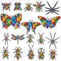 Geometric design in Shape insects vector collection. Royalty Free Stock Photo