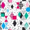 Geometric elements Memphis Postmodern Retro fashion style 80-90s. texture asymmetrical shapes Rhombus triangle Seamless pattern bl