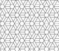 HEXAGONAL SEAMLESS VECTOR PATTERN. OUTLINE TRELLIS GEOMTERIC TEXTURE. MONOCHROME TRENDY BACKGROUND