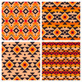 Geometric ethnic aztec mexican seamless patterns set tribal ornament boho chic texture Royalty Free Stock Photo