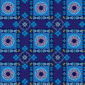 Geometric and floral blue pattern seamless with square circle ornaments Stock Image