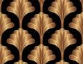 Geometric Floral Gatsby Art Deco Seamless Pattern Background Design. Vintage Style Decorative Texture