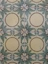 Geometric and floral tiles yellow green pattern of Royalty Free Stock Photo