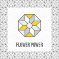 Geometric flower icon, grey and yellow, black line Royalty Free Stock Photo