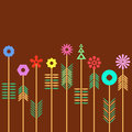 Geometric flower multicolored flowers made of shapes against rich brown background Stock Photos