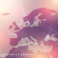 Geometric graphic background communication with Europe Map. Big data complex with compounds. Perspective backdrop