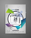 Geometric grunge background for party. Vector template poster with watercolor paint abstract background. Grunge banner