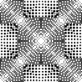 Geometric halftone vector seamless pattern. Abstract check dotted gradient background. Black and white monochrome checkered