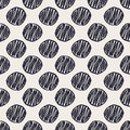 Geometric hand drawn polka dots seamless pattern with decorative modern monochrome sketched background contemporary graphic design Royalty Free Stock Images