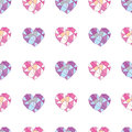 Geometric hearts seamless pattern of pink and lilac print Royalty Free Stock Image