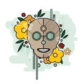 Geometric illustration of skull with flowers on blue background