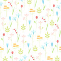 Geometric meadow flowers seamless vector background