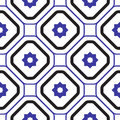 Geometric mediterranean blue and white rhombus seamless tile pattern.