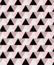 Geometric minimal seamless pattern in pink and black tones