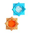Geometric origami lotus flowers a pair of in turquoise and orange made from traditional paper with a floral pattern Stock Images
