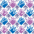 Geometric paint spills seamless backgound pattern dazzling blue and radiant orchid tile Stock Photos