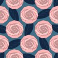 Geometric pastel roses, seamless pattern with roses and leaves