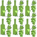 Geometric pattern with bunches of green grapes, bottles of wine and glasses. Vector Royalty Free Stock Photo