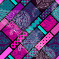 Geometric pattern with paisley seamless background Stock Image