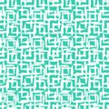 Geometric pattern with small hand painted squares vector placed in rows in bright aqua green white can be used for print wallpaper Stock Photography