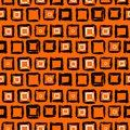 Geometric pattern with small hand painted squares vector placed in rows in bright orange white and black can be used for print Stock Image