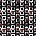 Geometric pattern with small hand painted squares vector placed in rows in bright red white and black can be used for print Royalty Free Stock Image