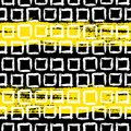 Geometric pattern with small hand painted squares vector placed in rows in bright yellow white and black can be used for web print Royalty Free Stock Photo
