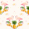 Geometric Pineapple and Flamingo Background