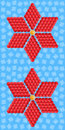 Geometric red flower consisting of isometric cubes