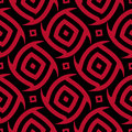 Geometric seamless background. Black background with red ornament