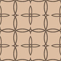 Geometric seamless background. Brown wallpaper with floral elements