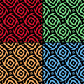 Geometric seamless background. Colored ornaments on black