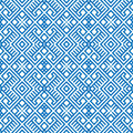 Geometric seamless ethnic pattern background in blue and white colors vector illustration Royalty Free Stock Photography